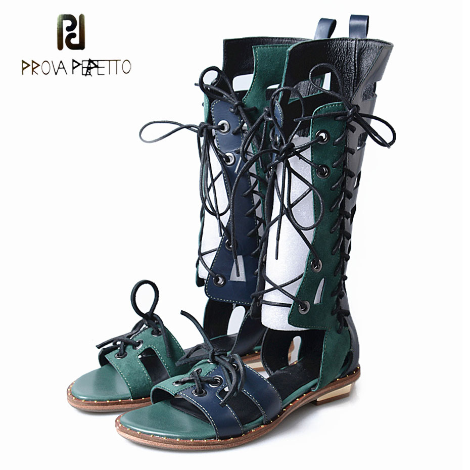 Prova Perfetto2018 new design gladiator sandals women summer boots rivets sole cross tied mixed color cow leather sandals boots stylish women s sandals with rivets and color block design