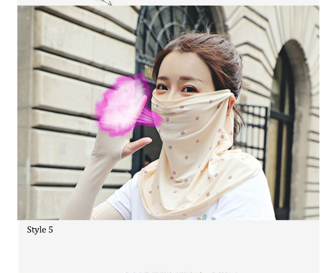 Sunscreen Veil Mask Girl  Face shading UV Protection Outdoor neck protective face thin breathable
