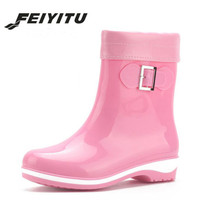 feiyitu Fashion PVC Rain Boots for Women Non slip Warm Platform rainboots All Season Soft Leather Buckle Women Shoes