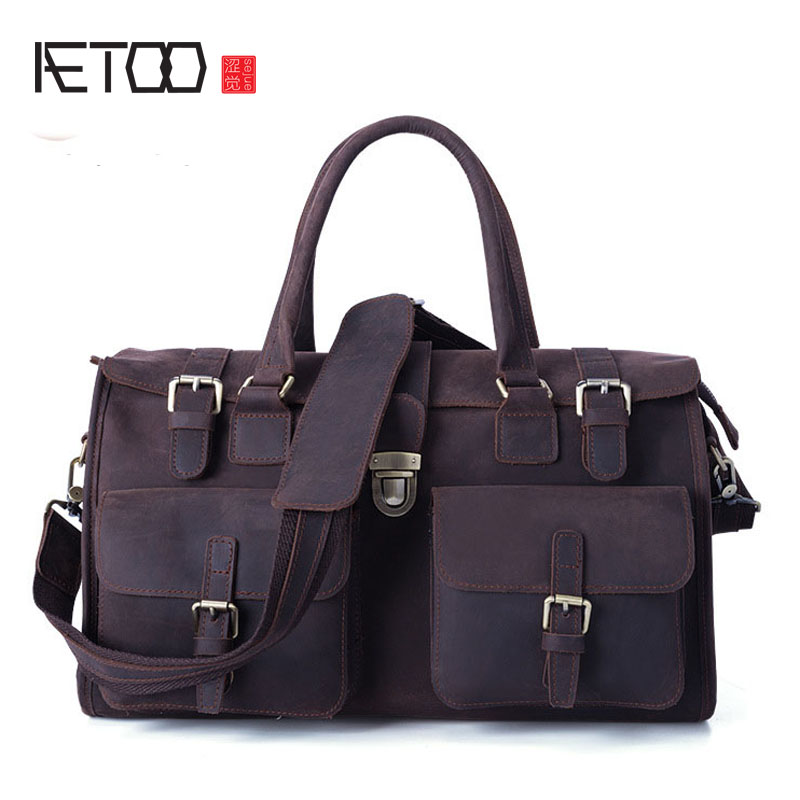 AETOO New European and American Retro Men 's Leather Bag Handbag Shoulder stylish people and american flag pattern 10cm width men s wacky tie