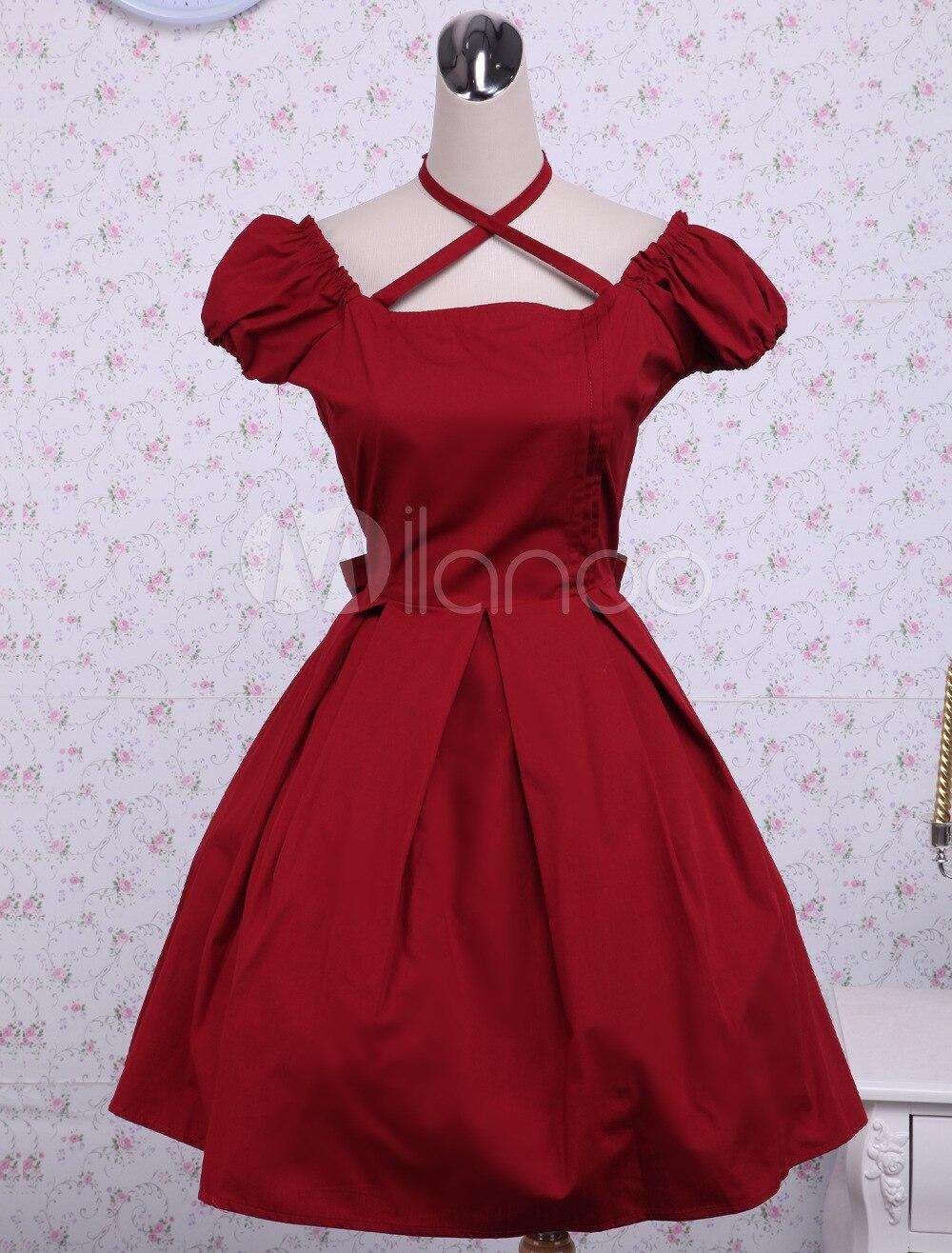 05162964735 Classique Haute Gratuite Rouge Livraison Robe Lolita Arc Qualité Nouveautés  Coton wRvqB0