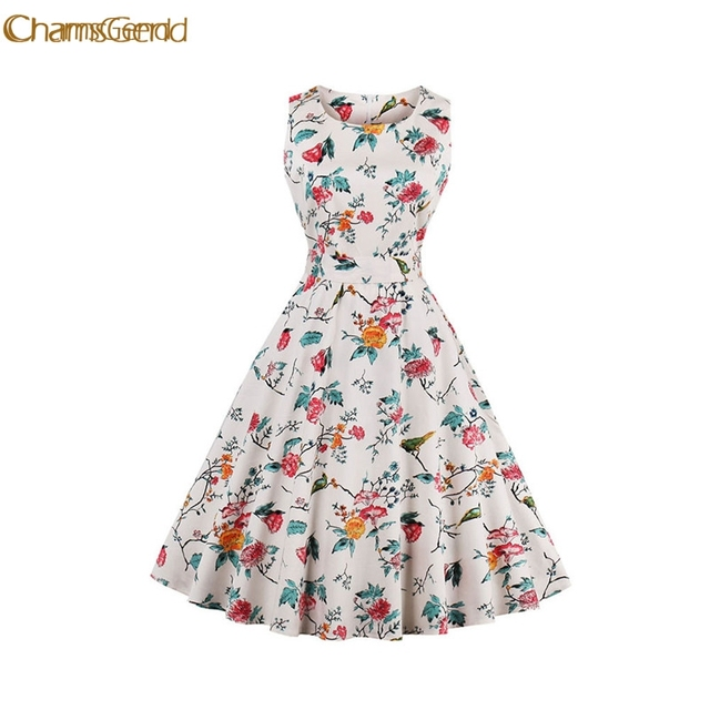 Chamsgend Vintage 1950 S Flower Bird Womens Summer Garden Rockabilly Swing Prom Party Tail 4xl Plus Size