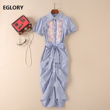 High Quality Women Summer Dress 2018 Ladies Turn-down Collar Floral Embroidery Striped Print Bow Belt Pleated Long Shirt Dress
