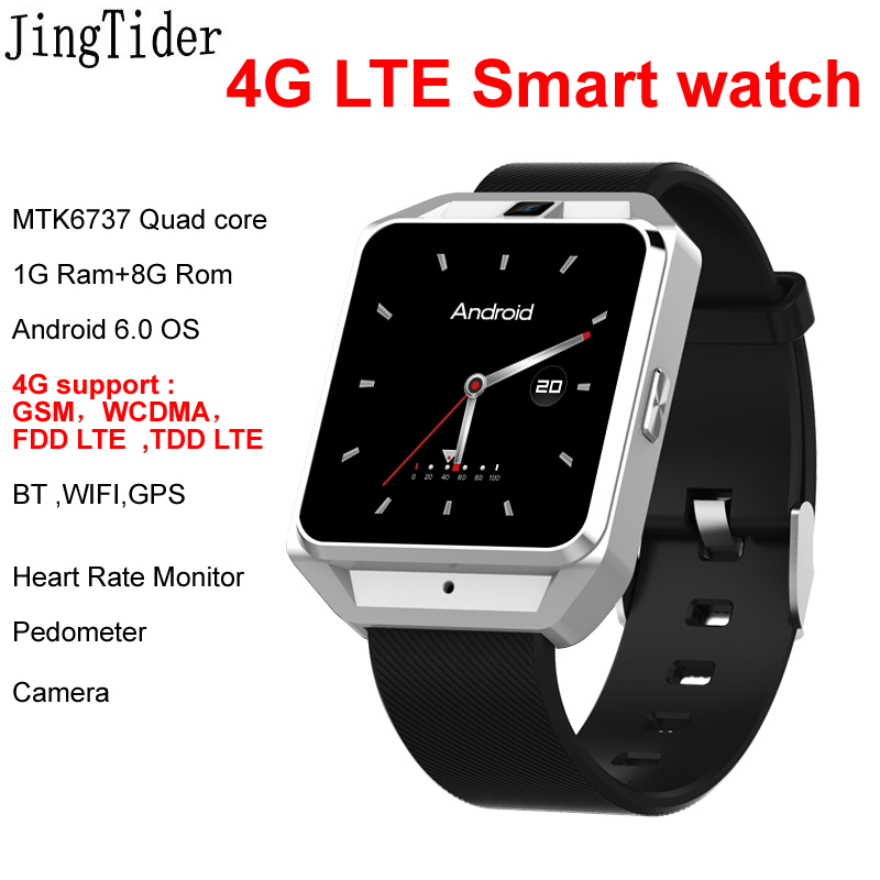 New 4G LTE Smart Watch JT3 Android 6.0 MTK6737 Quad core 1G Ram 8G Rom Heart Rate Monitor WIFI BT GPS SIM Card Camera Man Gift