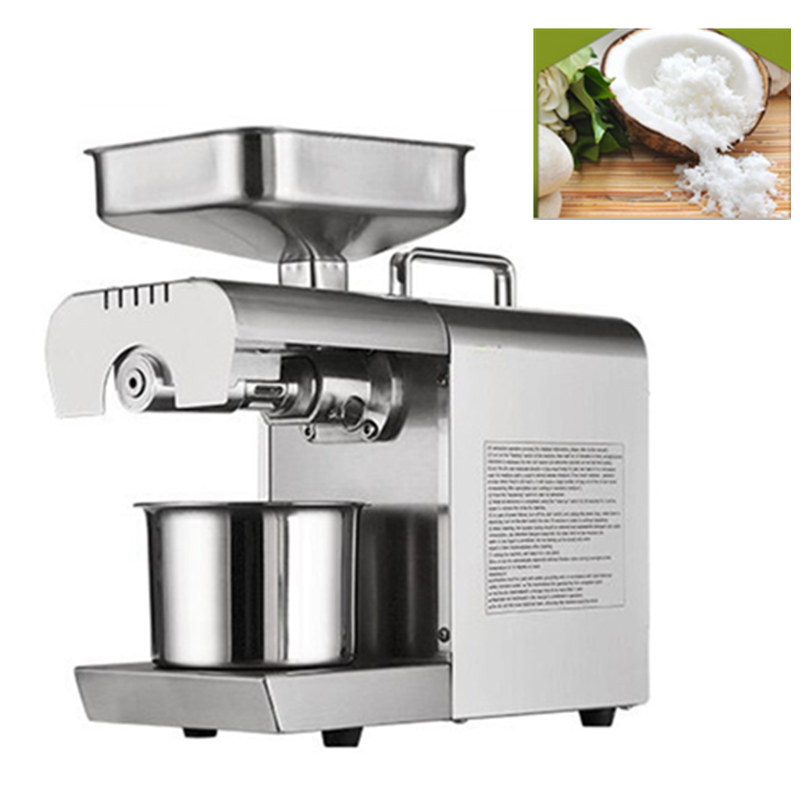 Brand New Automatic 304 Stainless Steel Small Home 220V Oil Press Machine Cold Hot Press For Peanut Coconut Walnut Flaxseed automatic small peanut oil press machine oil soybean presser 220v 200w stainless steel brand new for home use