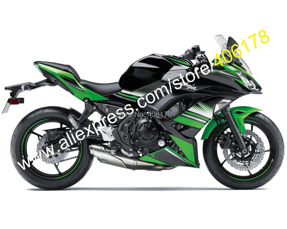 Лидер продаж, для Kawasaki Ninja 650R ER 6F 2017 2018 Запчасти ER6F 650 17 18 Зеленый Черный Aftermarket обтекателя Kit (литья под давлением)