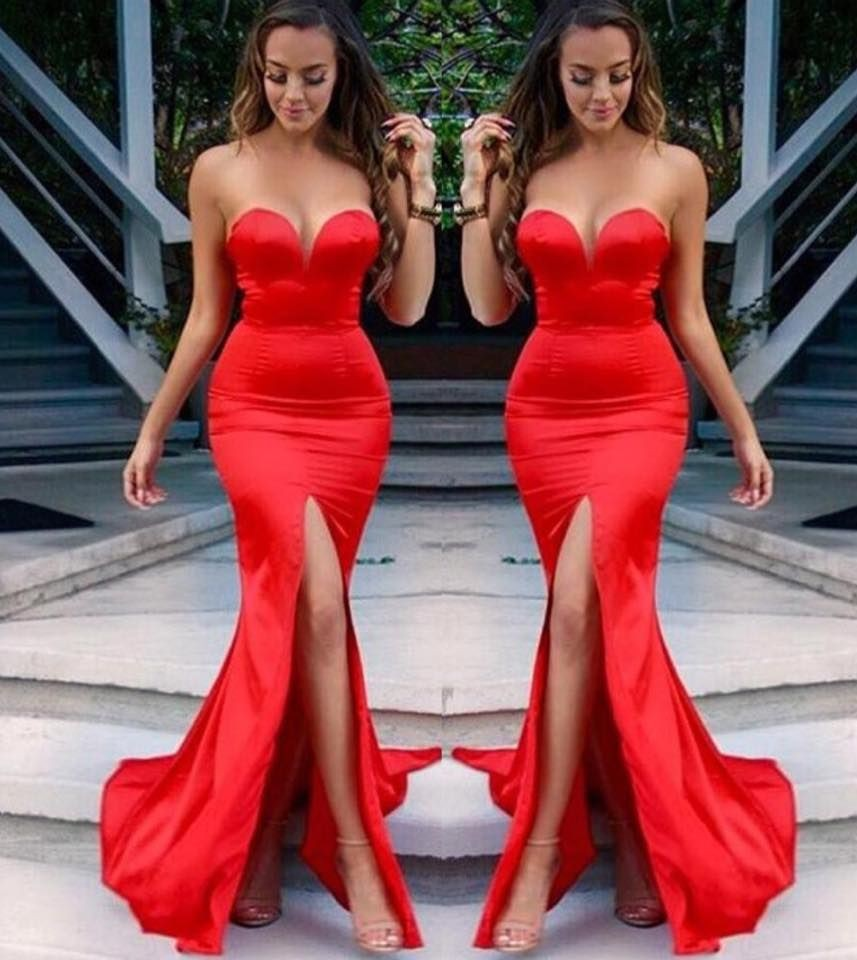 618e767a20d Sweetheart Long Red Evening Dress Cheap Under 100 Front Split Sexy Mermaid  Prom Dresses Fast Shipping في Sweetheart Long Red Evening Dress Cheap Under  100 ...