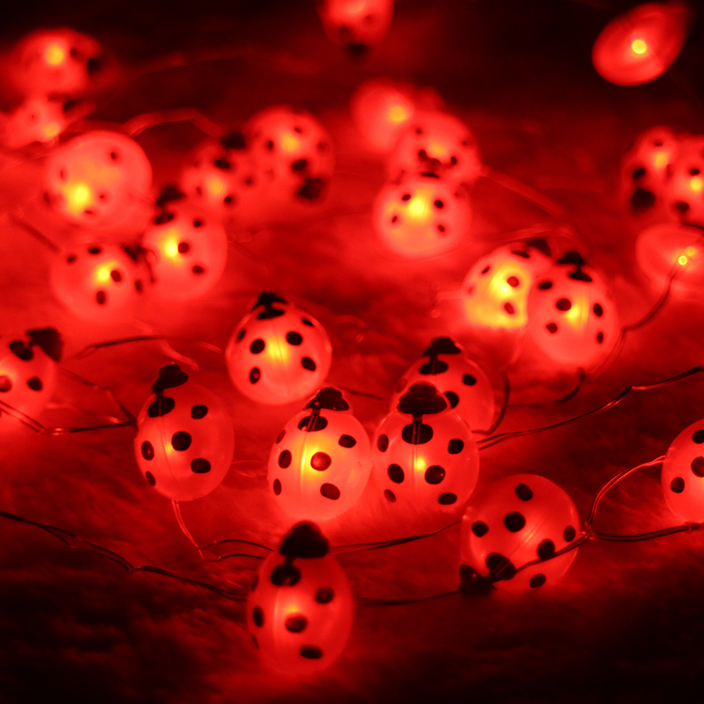 Battery Powered 3M 10FT 40LED Ladybug Shaped String Lights, Decorative Halloween Holiday Indoor Outdoor Fairy Lights with Remote