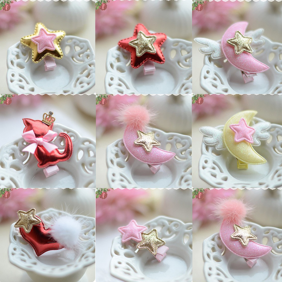 2017 New Girls Hair Accessories Kids Hairpins PU Cartoon Stars Moon Animal Baby Hair Clips Children Headwear Princess Barrette 1 pcs lovely cartoon swan temperament baby hairpins kids hair clips princess barrette children headwear girls hair accessories