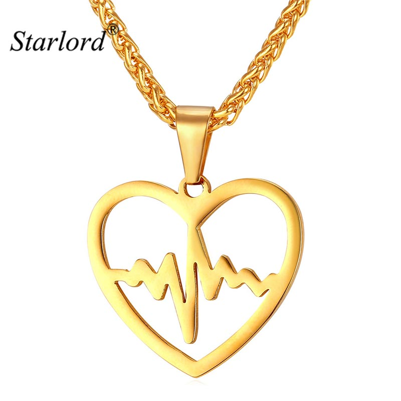 Heartbeat Necklace For Women Jewelry Stainless Steel/Gold Color Electrocardiogram Heart Necklace Valentines Gift  GP2158