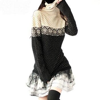 Artkas Модные женские длинные кашемировые винтажные свитера и пуловеры Женская одежда осень-зима теплые водолазки со снежинками Топы