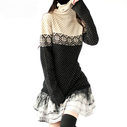 Artkas موضة النساء طويلة الكشمير Sweaters البلوزات والبلوفرات الإناث الملابس الخريف الشتاء الدافئة ندفة الثلج الياقة المدورة القمم