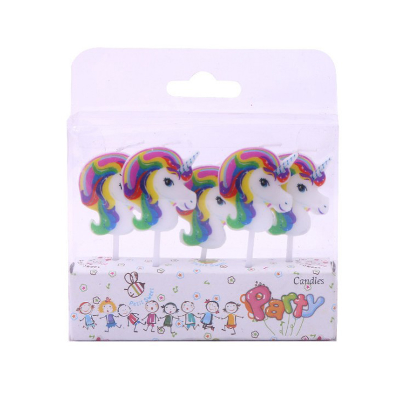5 Pcs/set Lovely Cartoon Unicorn Candles Baby Party Supplies Kids Birthday Evening Party Decorations Birthday Party Cake Candles