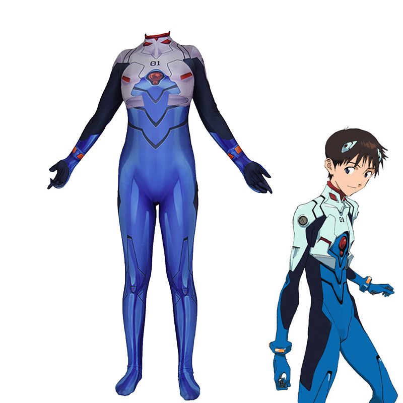 Drop Ship EVA Ikari Shinji Cosplay Costume Anime Fullbody Zentai Suit Skinny Bodysuit Neon Genesis Evangelion One Piece Jumpsuit neon genesis evangelion the shinji ikari raising project omnibus volume 2