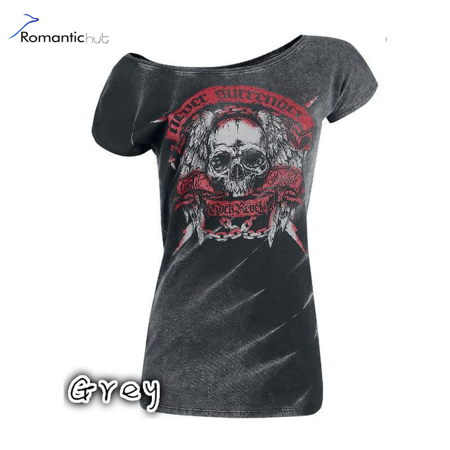 2017 Women Summer Black Shirts Tops Cool Skull Head Prints Woman Street Casual Shirt Slim Female Blouse Ton Sundress Plus Size