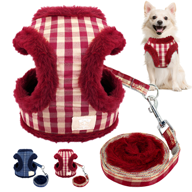 Soft Puppy Dog Cat Harness Leash Set Warm Padded Plaid Pet Harnesses Vest Christmas For Small Medium Dogs Chihuahua Yorkie S M L