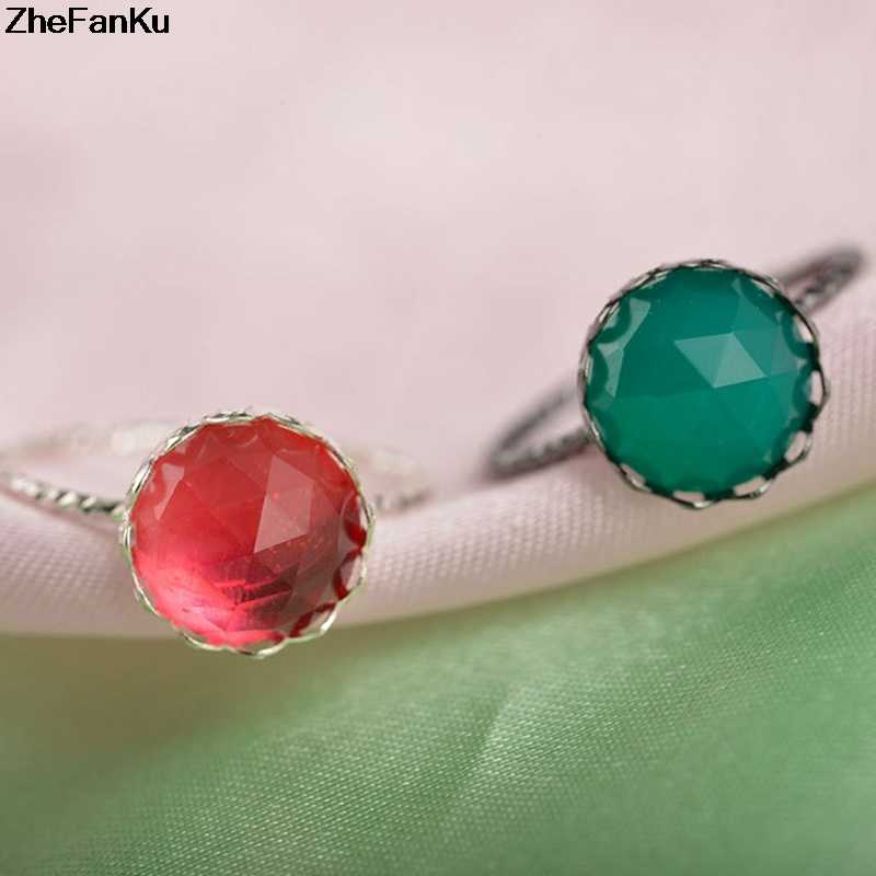 Moda de Luxo Anel de Ouro Rosa Anel de Casamento Das Mulheres Com Big Oval Pedra Verde Anéis de Cristal Para As Mulheres de Jóias
