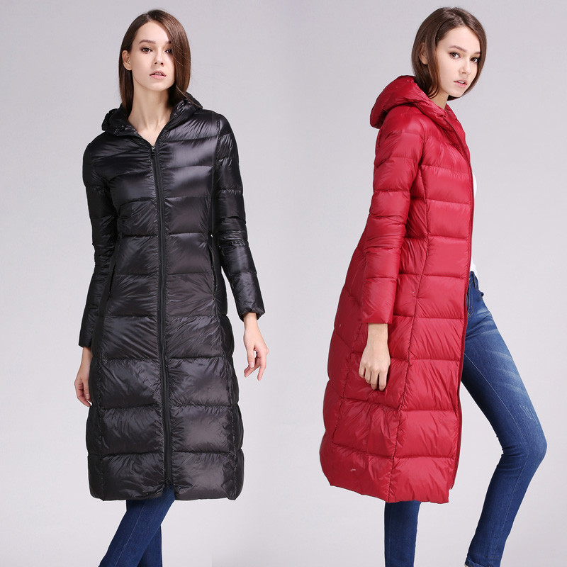 2018 Women   Down   Jacket Autumn Winter Ultra Light White Duck   Downs     Coat   Parkas Ladies Long Hooded Outerwear Plus Size 5XL AB1124