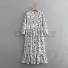 2019 women fashion o neck three quarter sleeve dots printing casual long dress female hem ruffles CUERLY chic dresses DS1908