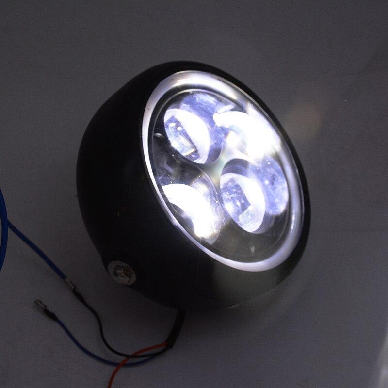 12 В светодиодные фары лампы проектора с Ангел кольцо для Harley Sportster Кафе Racer Bobber мотоциклов