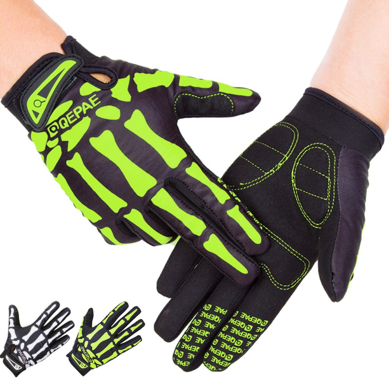 Skeleton Pattern Unisex Full Finger Bicycle Cycling Motorcycle Gloves Men Women Child Horse Riding Gloves 2 Colors ...