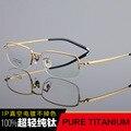 Vintage pure titanium spectacle mitad marco óptico retro lente transparente del ojo marcos de los vidrios de los hombres de alta calidad de lujo de negocios tg6610
