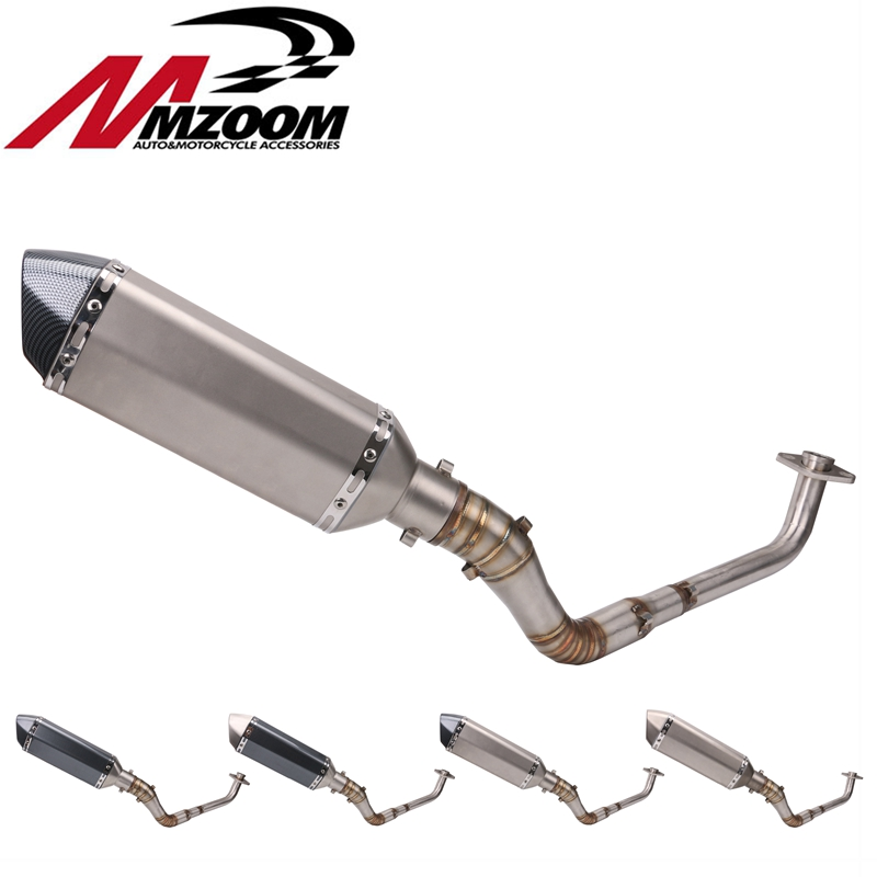 Motorcycle Front modified link tube Scooter Escape exhaust silencer Complete system Slip-On for yamaha NVX 155 NVX 155 Aerox 155 цена