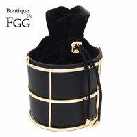 Известный бренд модные женские сумки ведро черный PU Металл строка вечерние клатчи партия клатч сумка Crossbody сумки