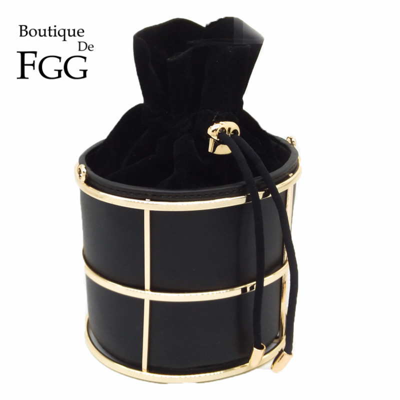 Famous Brand Women's Fashion Handbags Bucket Black PU Metal String Evening Clutches Party Clutch Bag Shoulder Bag Crossbody Bags