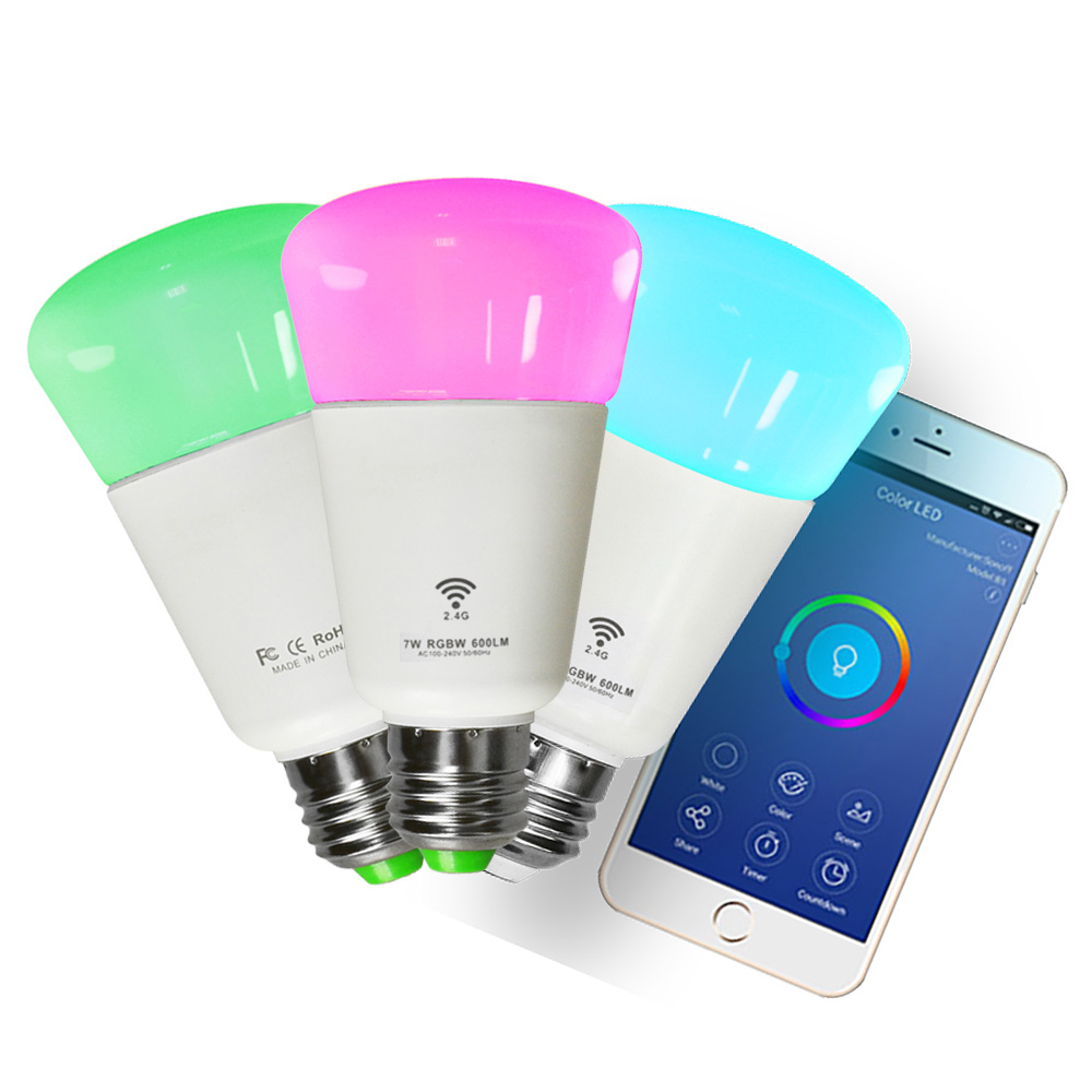 WiFi Led Bulb Dimmer Smart RGBW Light Bulbs Remote Control Wifi Light Switch Led Color Changing Light Bulb Works With Alexa rgbw led light bulb wifi remote control smart lighting lamp color change dimmable led bulb for android ios phone