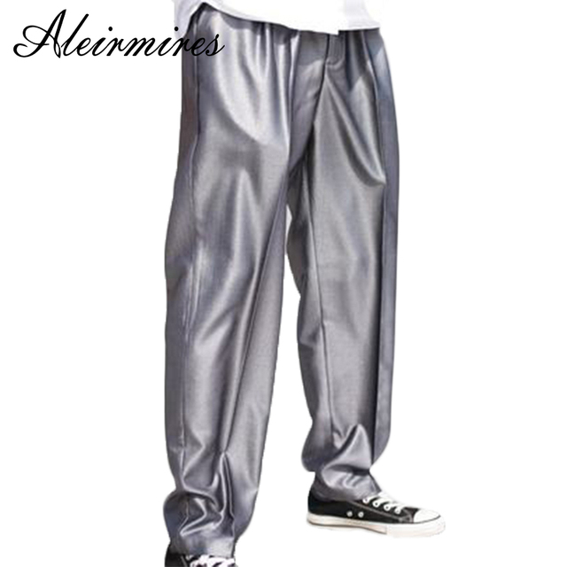 Aleirmires Men Silver Street Dance Poppin Pants Embroidery Letters