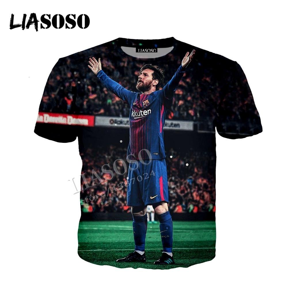 LIASOSO latest 3D printing comfort polyester sportswear set World Cup football star Rio Messi men women T shirt hooded top CX774