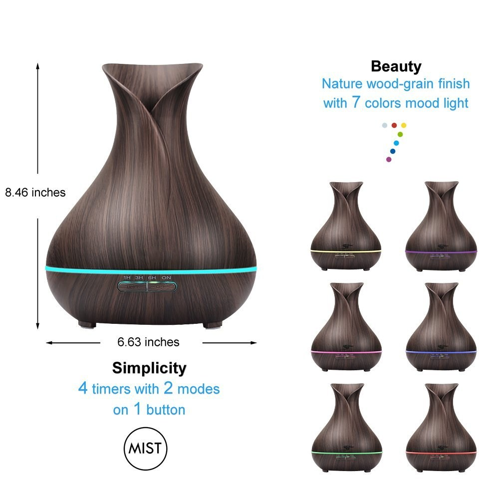 Essential Oil Diffuser Mist Maker Fogger 500ML Large Capacity Ultrasonic Air Humidifier with LED Lights for Home Aroma Diffuser