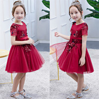 2018 New abies Kids Hot sales Birthday Wedding Holiday Party Wine Red Ball Gown Dress Girls Teens Pageant Formal Lace Dress
