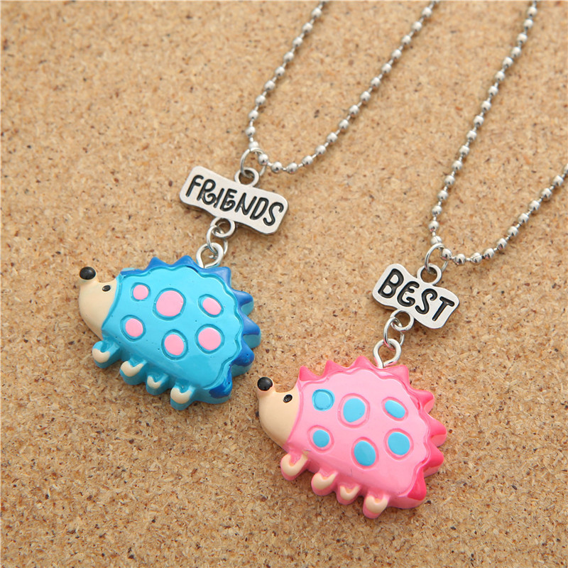 Lovely Resin Colored Pendant Child Spotted Hedgehog Necklace <font><b>BF</b></font> Cartoon Animal Sweater Chain Letter Jewelry Pink Blue Charms image