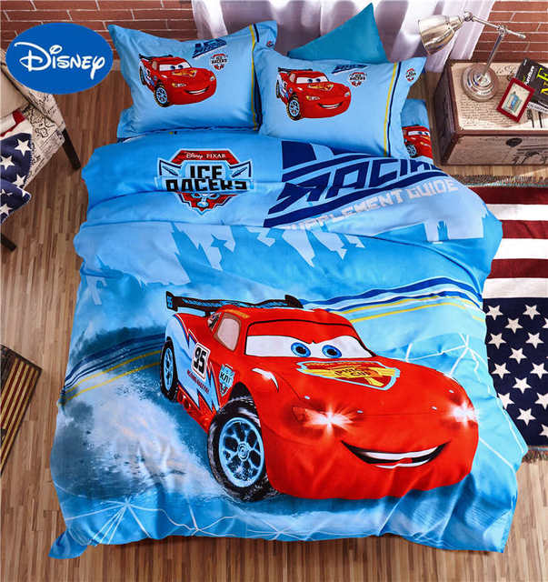 Blue Disney Lightning McQueen Car Covers Bedding Sets Boys Bedspreads  Polyester Woven Bedroom Decor Single Twin