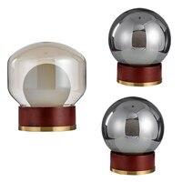 Post Современные настольные лампы простой деревянной со стеклом bubble Тень бюро свет гостиной спальня сообщению современного искусства дома м