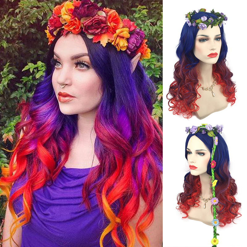 60cm Fashion High Quality Long Wavy Ombre Wig Cosplay Costume Rainbow Halloween Party Wigs For Women High Temperature Fiber