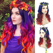 60cm Fashion High Quality Long Wavy Ombre Wig Cosplay Costume Rainbow Halloween Party Wigs For Women High Temperature Fiber цена 2017