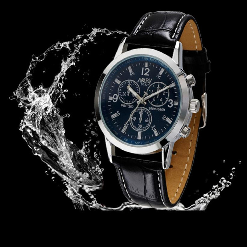 цена на Durable 2015 New Arrival Luxury Brand Waterproof Dress Faux Leather Men Military Nary Quartz Watch Round Dial For Reloj Relogio