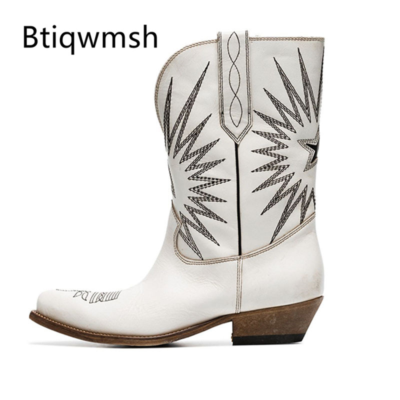 2019 Retro White Leather Ankle Boots Women Pointed Toe Embroidery Flower Middle Boots Woman Western Cowboy Boots