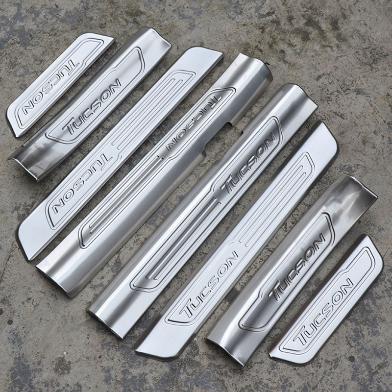 Car Styling For Hyundai Tucson 2015 2016 2017 Internal External Stainless Steel Door Sill Protector Pedal Scuff Plate Cover 8Pcs for hyundai new tucson 2015 2016 2017 stainless steel skid plate bumper protector bull bar 1 or 2pcs set quality supplier