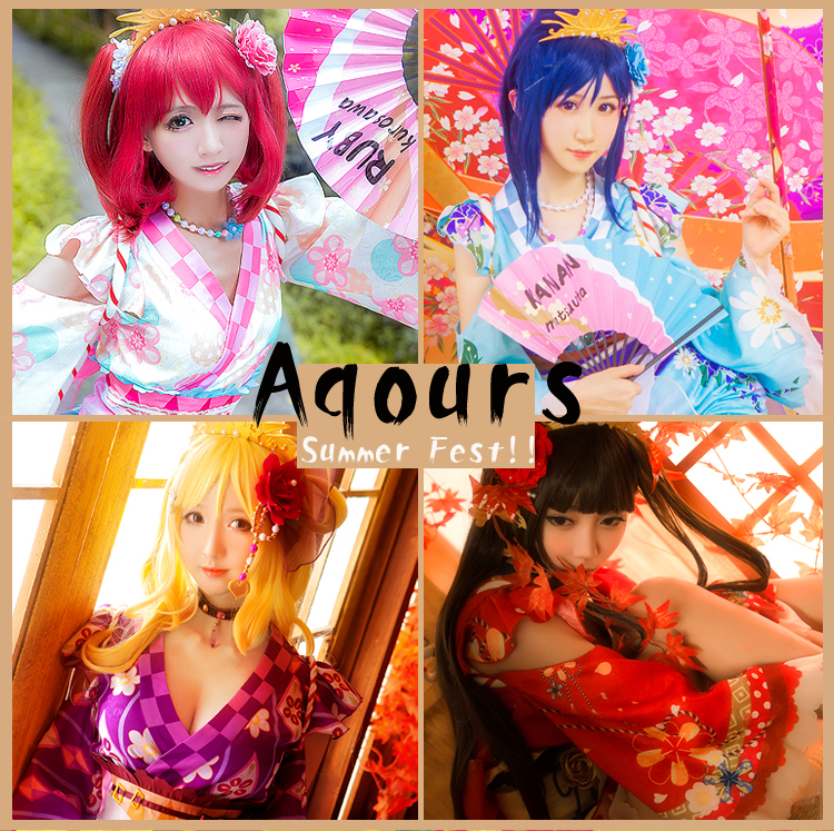 Anime lovelive sunshine!! Aqours Mari Dia Ruby Kanan All 4 Figures Summer Fest Kimono Dress Cosplay costume Full set Dress+Crown
