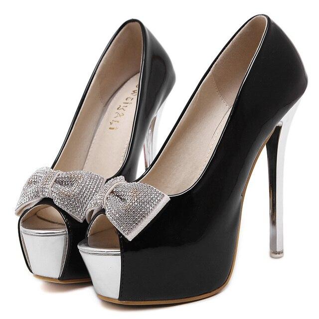 Women Shoes Open Toe 14cm High Heels Platform Pumps Woman Wedding Party Sapato Feminino