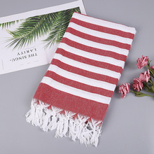 Turkish Style Fashion Stripes Thin Bath Towel  100% Cotton Beach With Tassels Picnic Blanket Mat Tapestry 100*180cm