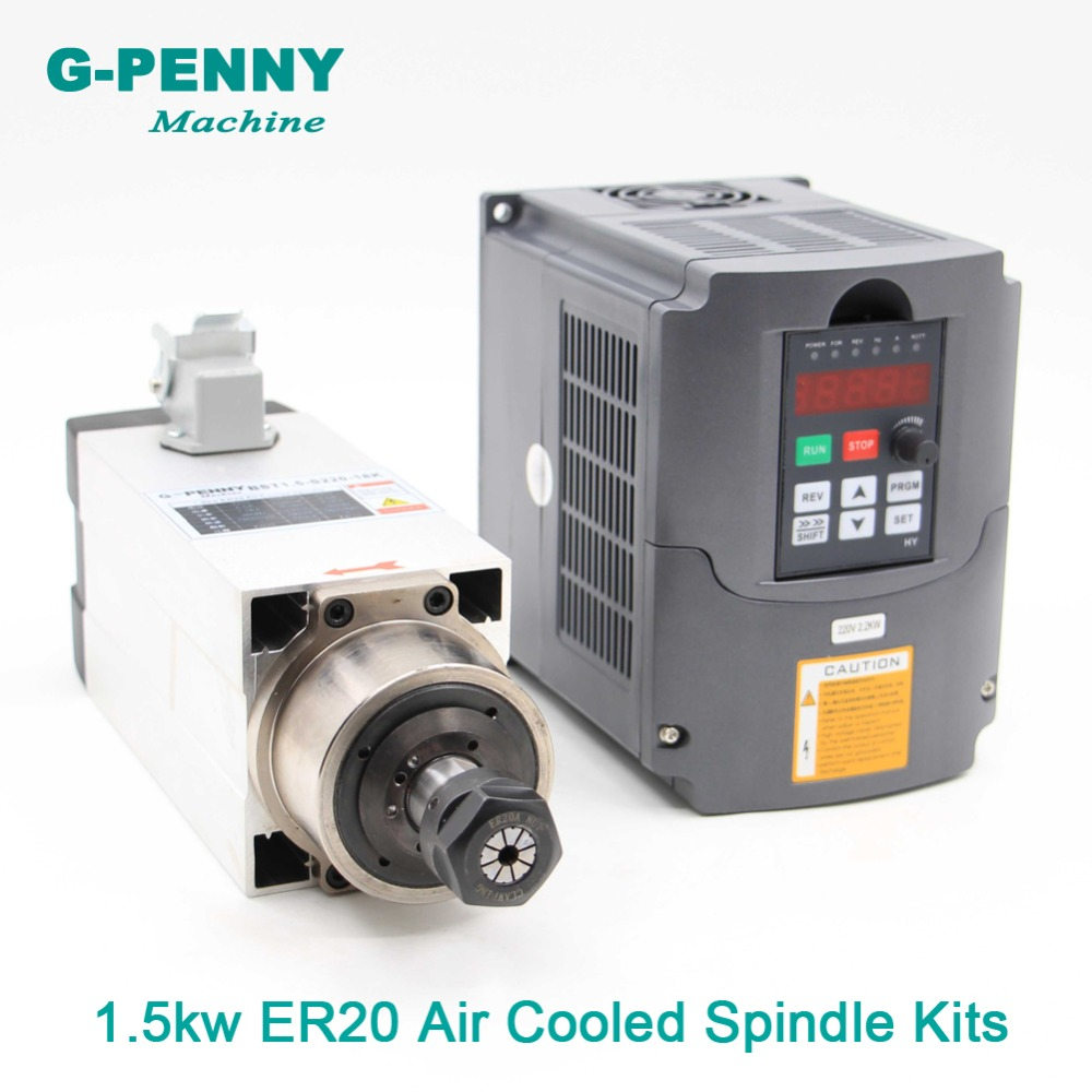 New Arrival! 1.5kw ER20 Air Cooled Spindle motor square spindle air cooling 4pcs bearings 0.01mm accuracy & 2.2kw HY inverter