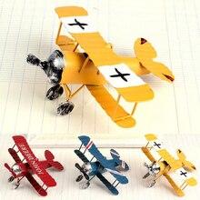 3 pcs Pure manual model plane toys furnishing articles Wrought iron old handicraft Retro Biplane model creative decoration