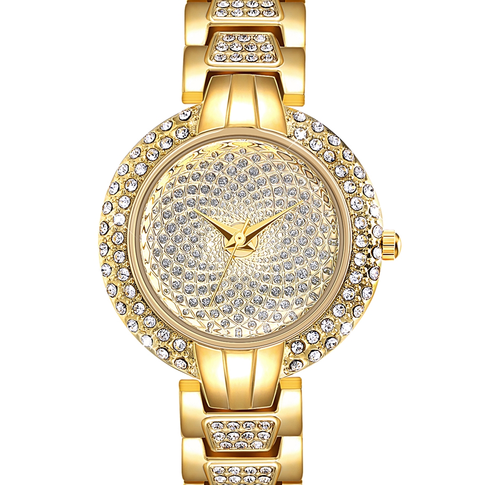 Full Crystals Luxury Ladies Watch for Women 3 Hands Stones Dial Alloy Round Case Bracelet Christmas Gift free drop shipping 1