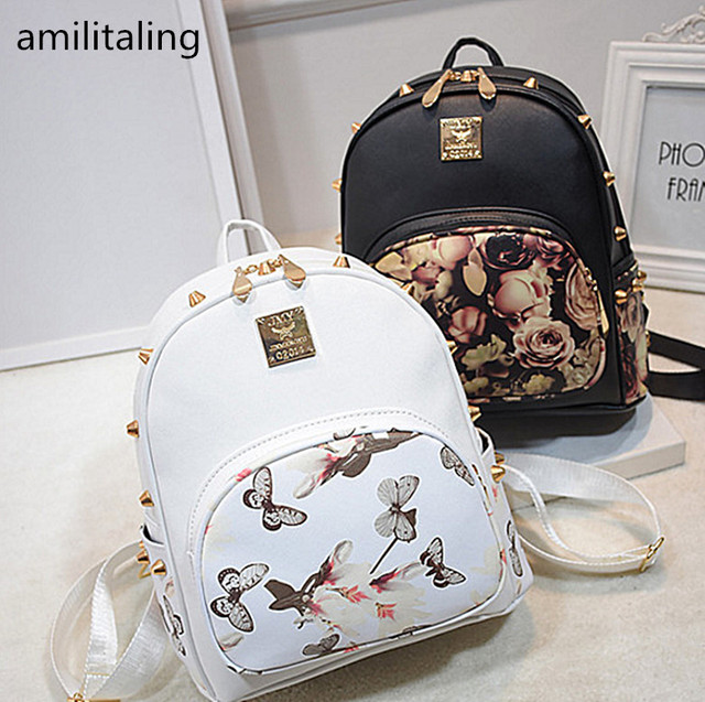 af7a2bd99ace 2017 New Fashion Flower Butterfly Print Women s Girl PU Leather Backpack  Rivet Girls Bag Mini Casual Backpack yey-3055