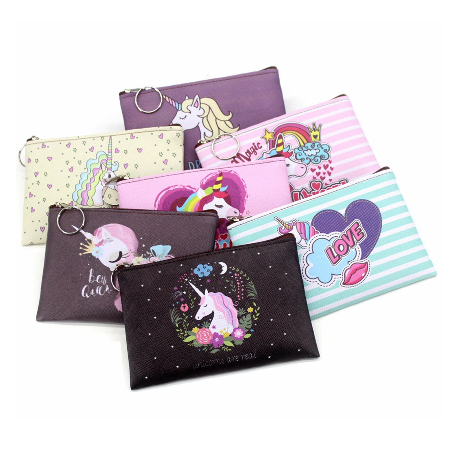 Cartoon Unicorn coin purses women mini wallets cute card holder ladies key money bags for girls purse Female kids children pouch(China)